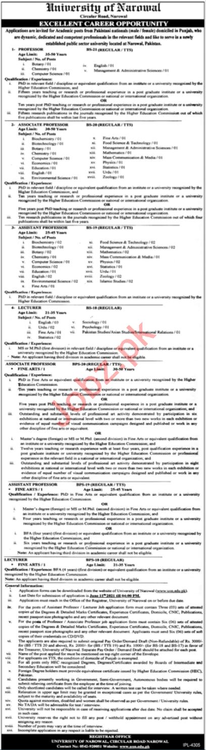 University of Narowal UON Jobs 2021 for Professor & Lecturer