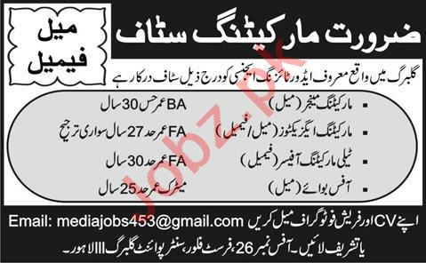 Marketing Manager & Marketing Executive Jobs 2021 in Lahore