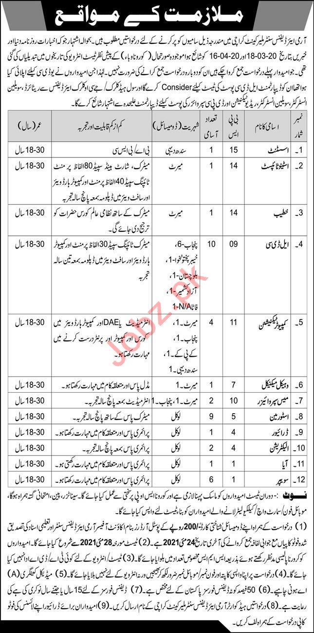 Pak Army Army Air Defence Centre Malir Cantt Jobs 2021