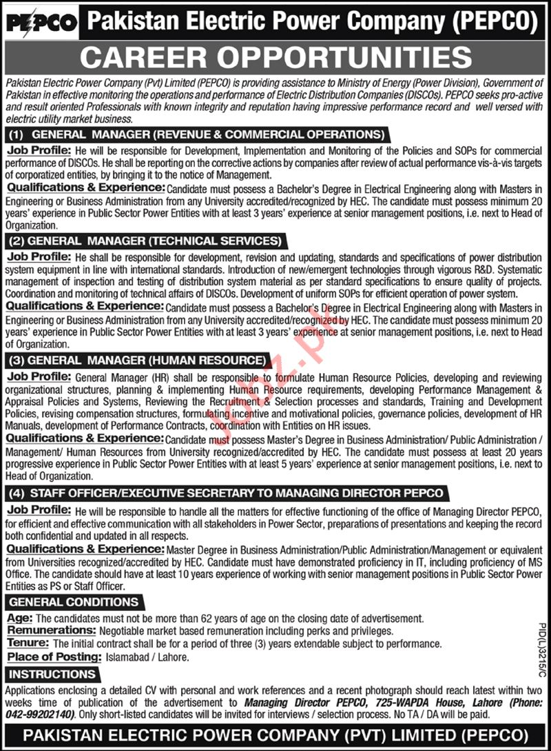 Pakistan Electric Power Company PEPCO Jobs 2021 for Managers