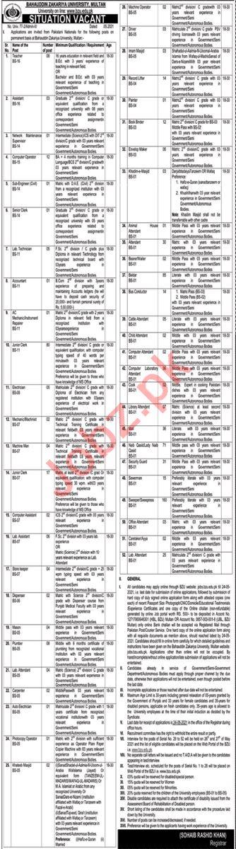 Bahauddin Zakariya University BZU Jobs 2021 for Engineers