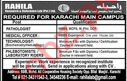 Rahila Research & Reference Lab Karachi Jobs 2021