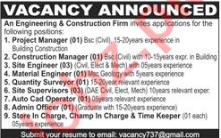 Project Manager & Construction Manager Jobs 2021 in Lahore