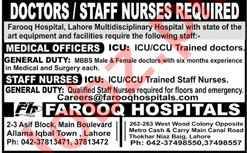 Farooq Hospital Lahore Jobs 2021 for Medical Officers