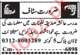 Madrasa Ayesha Siddiqa Lilbanat Quetta Jobs 2021