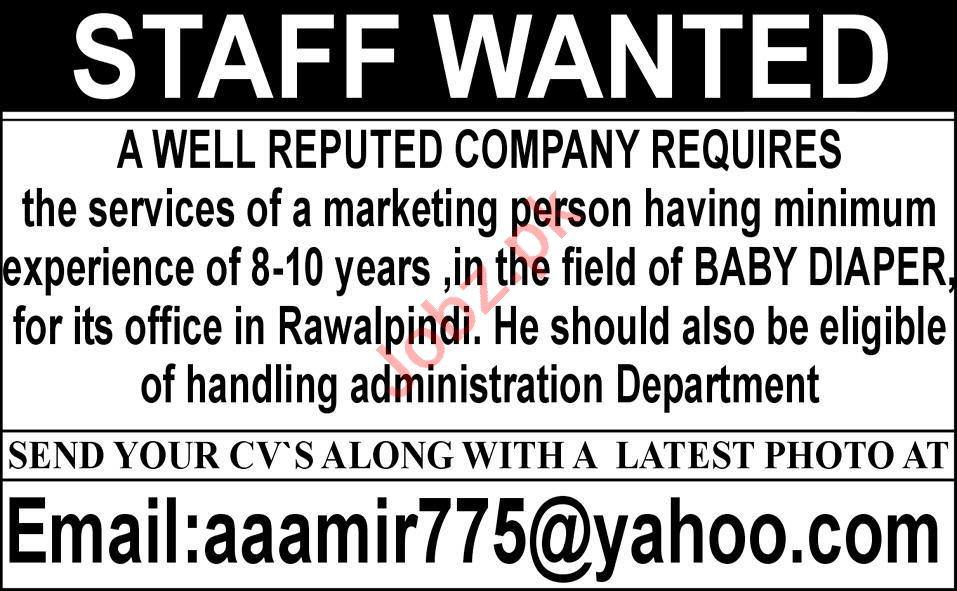Marketing Person & Marketing Officer Jobs 2021 in Rawalpindi
