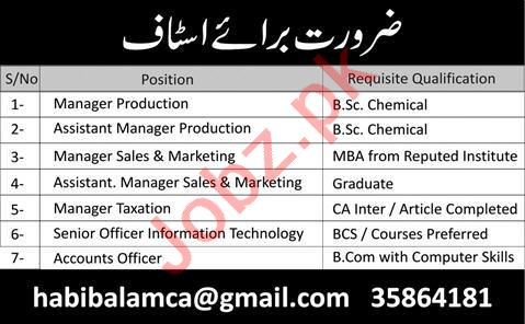 Manager Production & Manager Taxation Jobs 2021 in Lahore