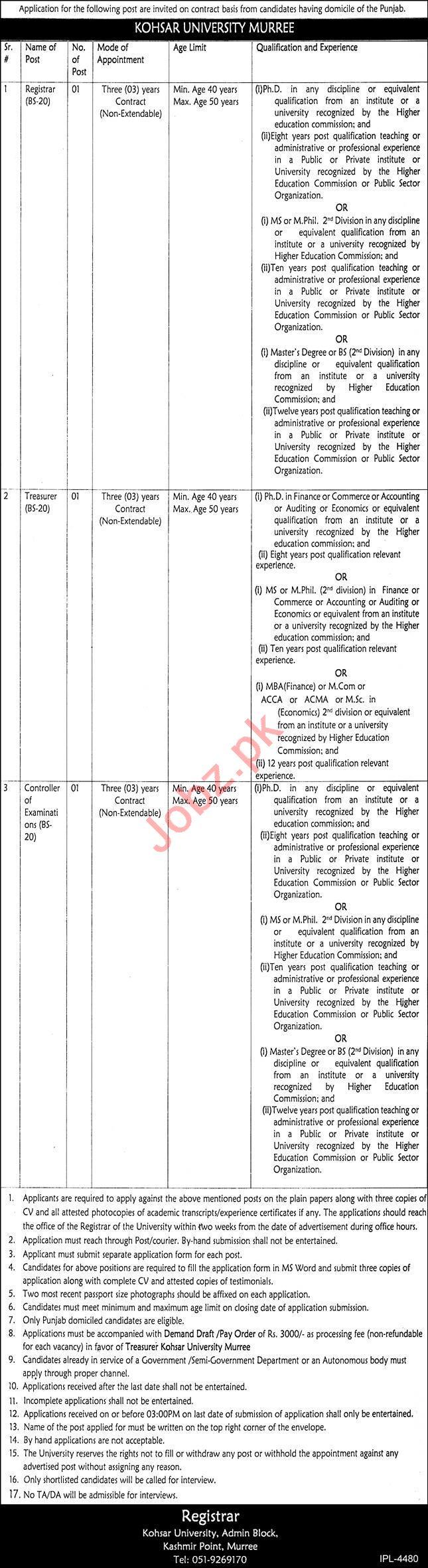 Registrar & Treasurer Jobs in Kohsar University Murree KUM