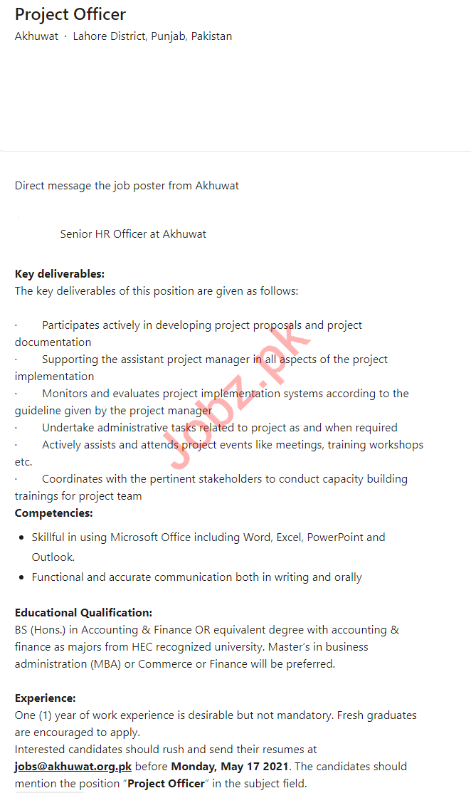 Akhuwat Foundation Lahore Jobs 2021 for Project Officer