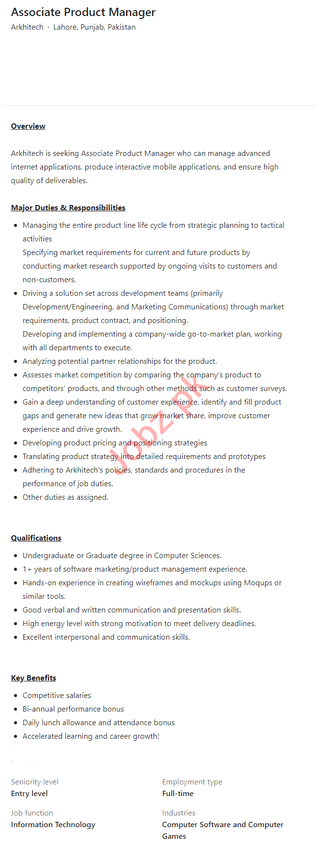 Arkhitech Lahore Jobs 2021 for Associate Product Manager