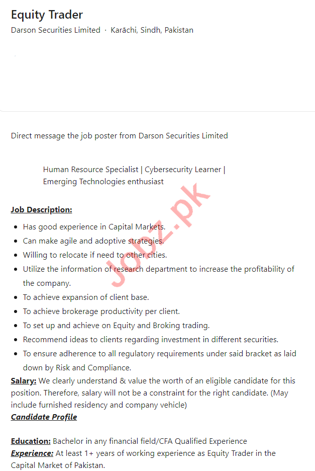Darson Securities Karachi Jobs 2021 for Equity Trader