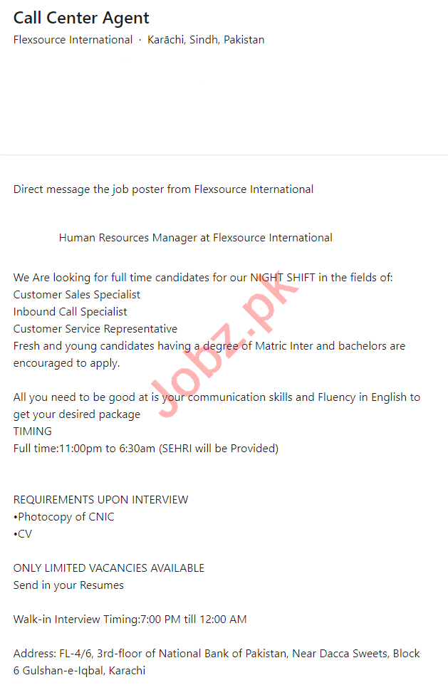Flexsource International Karachi Jobs 2021 Call Center Agent