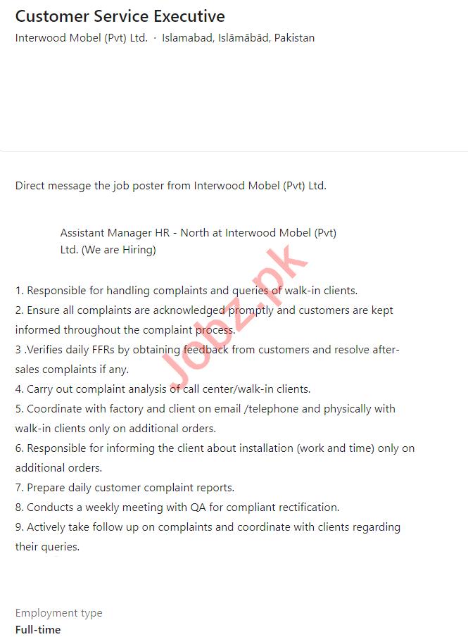 Interwood Mobel Islamabad Jobs Customer Service Executive