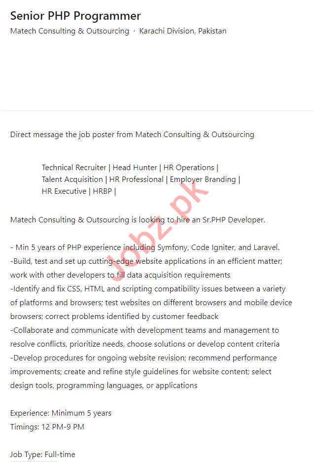 Matech Consulting & Outsourcing Karachi Jobs 2021