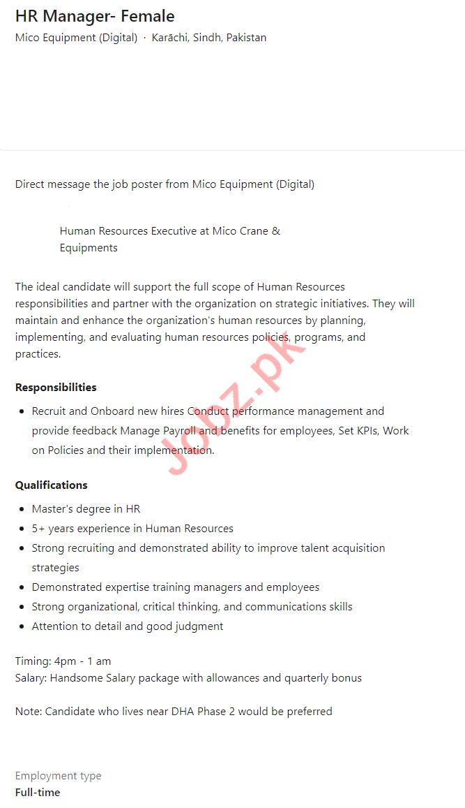 Female HR Manager Jobs 2021 in Mico Equipment Karachi