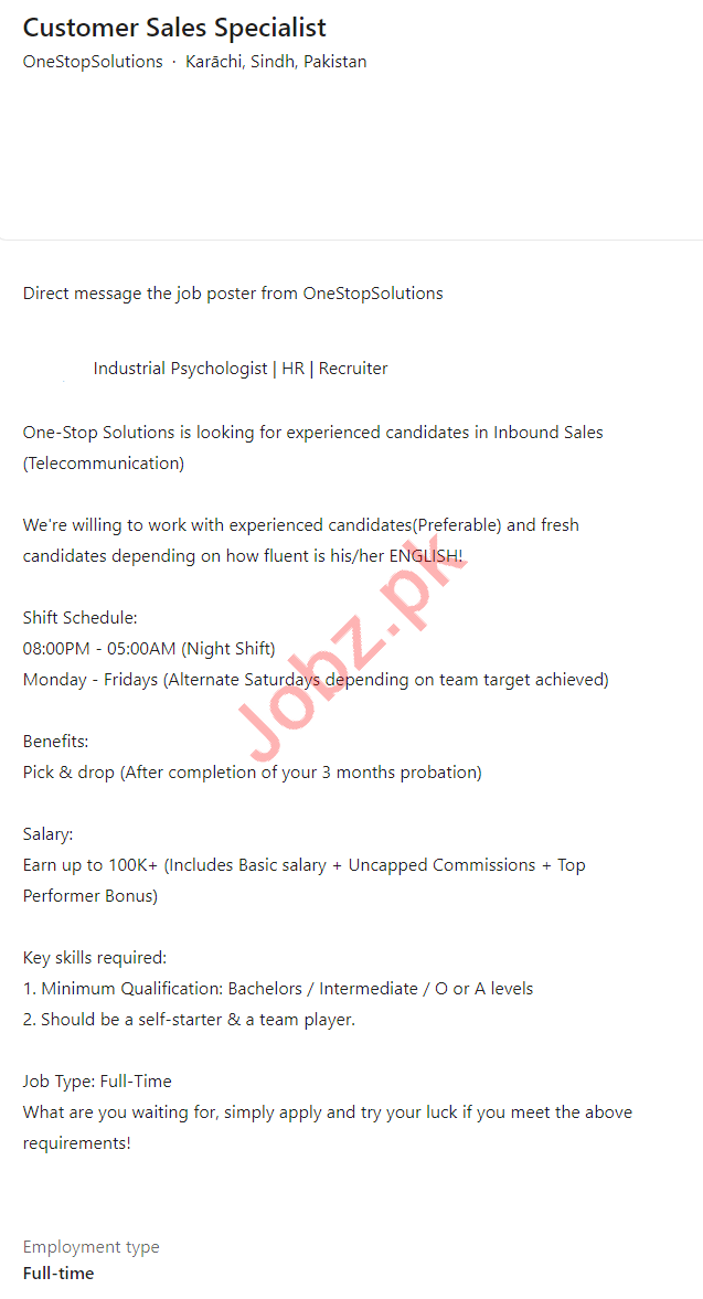 One Stop Solutions Karachi Jobs 2021 for Sales Specialist