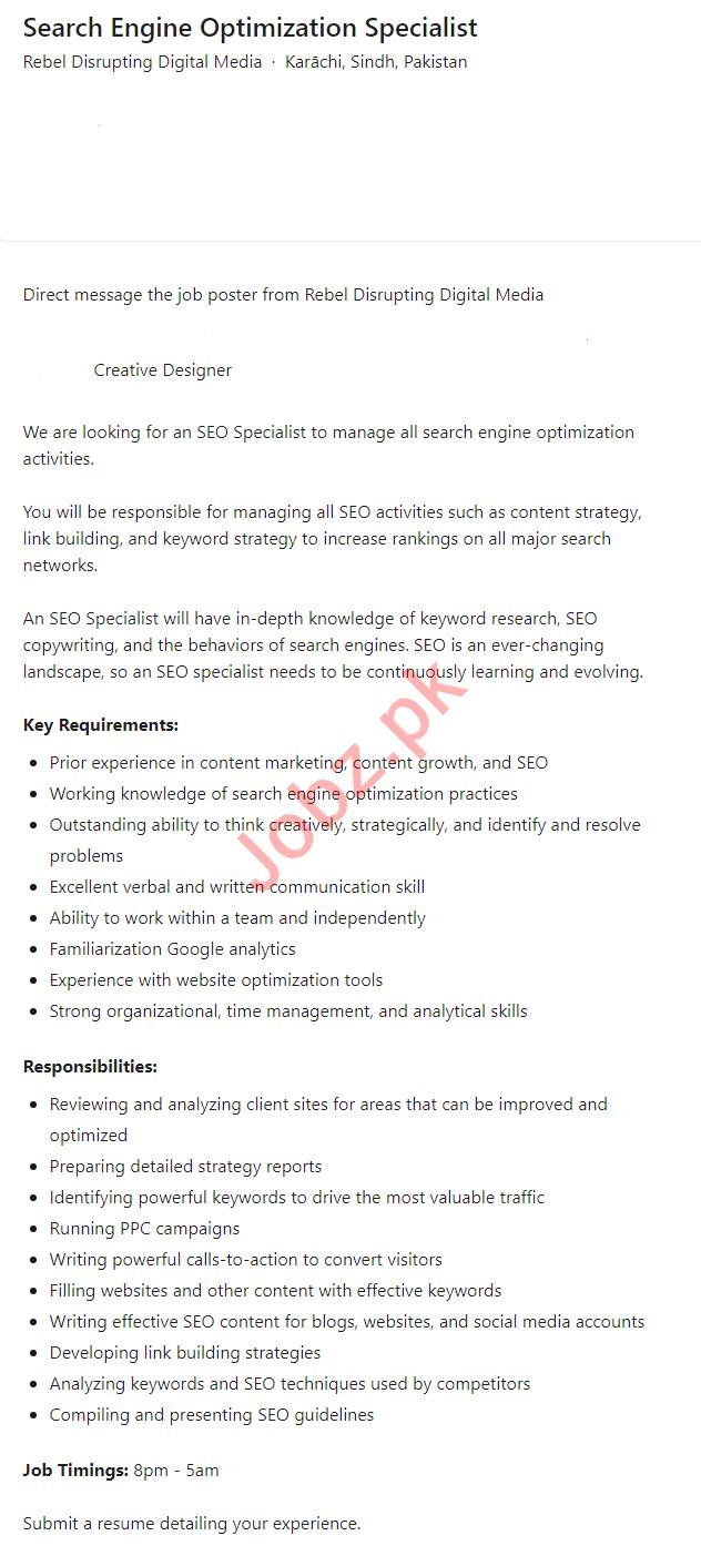 Rebel Disrupting Digital Media Karachi Jobs 2021 for SEO