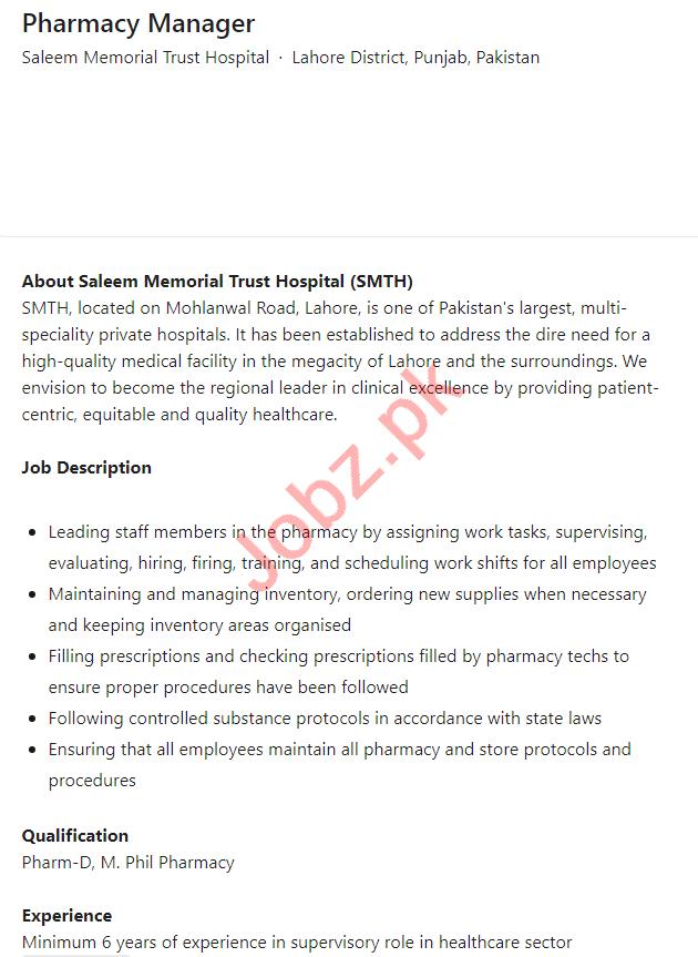 Saleem Memorial Trust Hospital Lahore Jobs 2021 for Manager