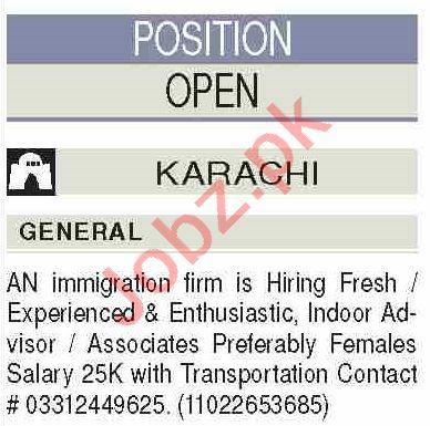 Female Indoor Advisor & Associates Jobs 2021 in Karachi