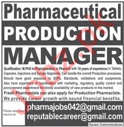 Pharmaceutical Production Manager & Manager Jobs 2021