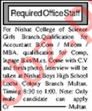 Nishat College Multan Jobs for Accountant & Campus Incharge