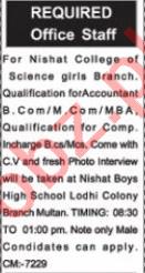 Nishat College of Science Girls Branch Multan Jobs 2021