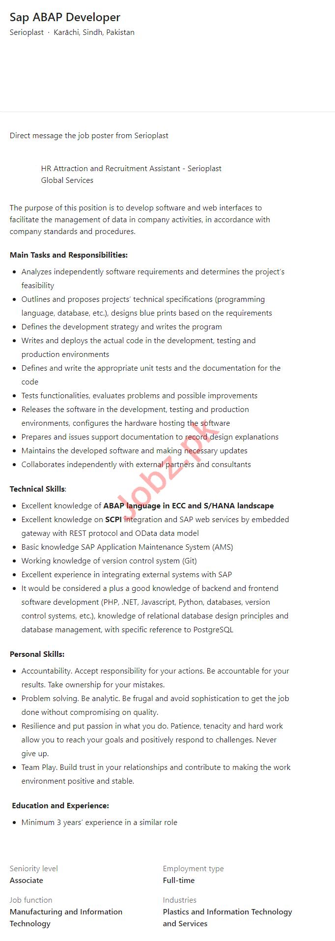 Serioplast Karachi Jobs 2021 for Sap ABAP Developer