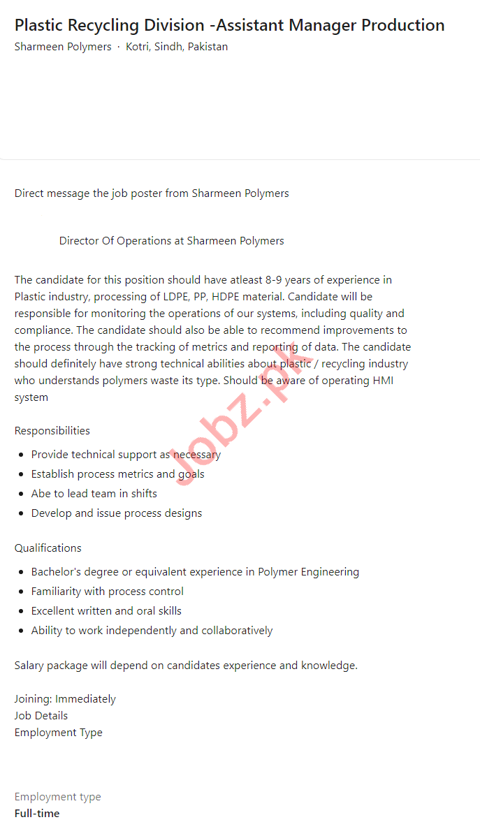 Sharmeen Polymers Kotri Jobs 2021 for Assistant Manager