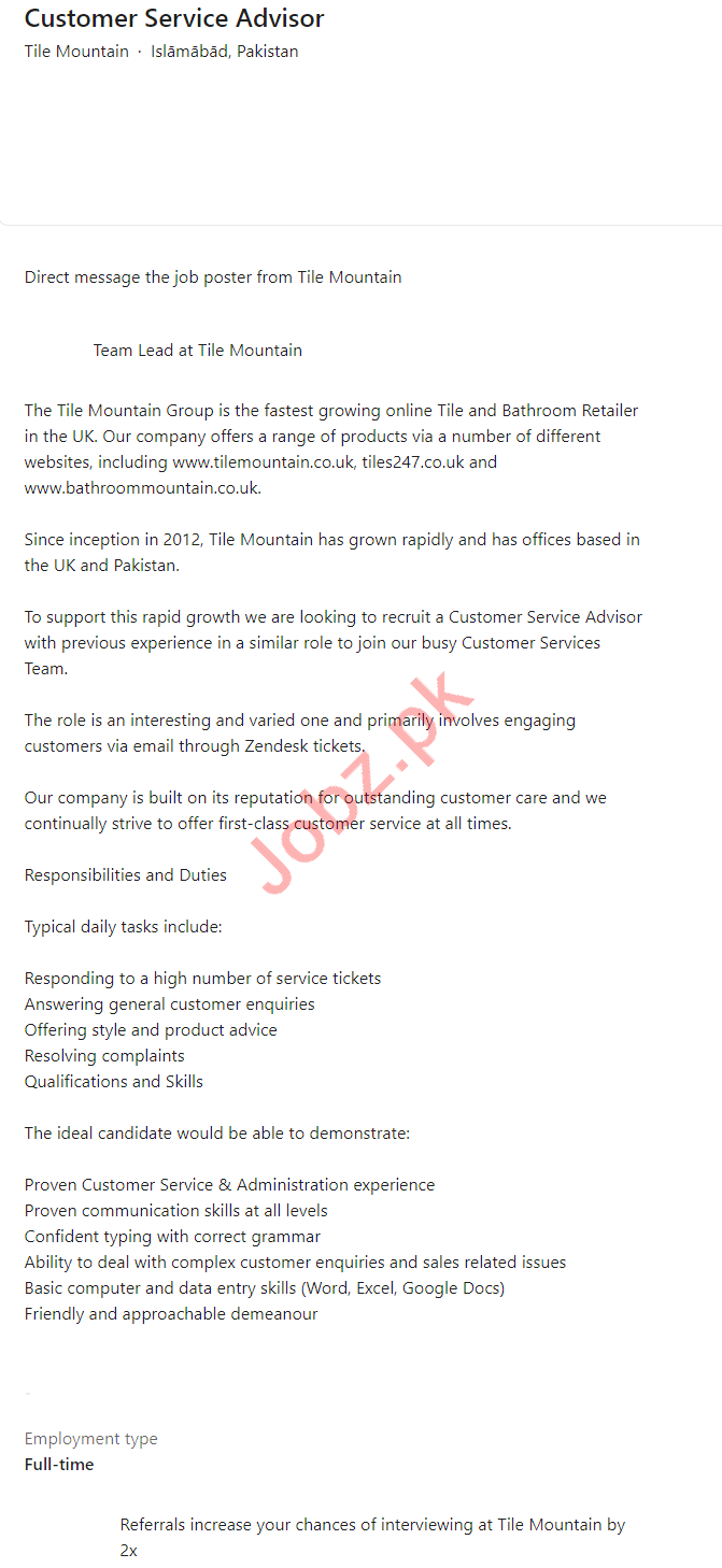 Tile Mountain Islamabad Jobs for Customer Service Advisor