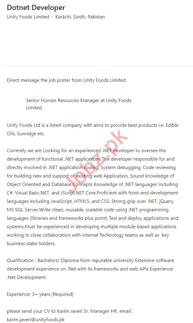 Unity Foods Limited Karachi Jobs 2021 for Dotnet Developer
