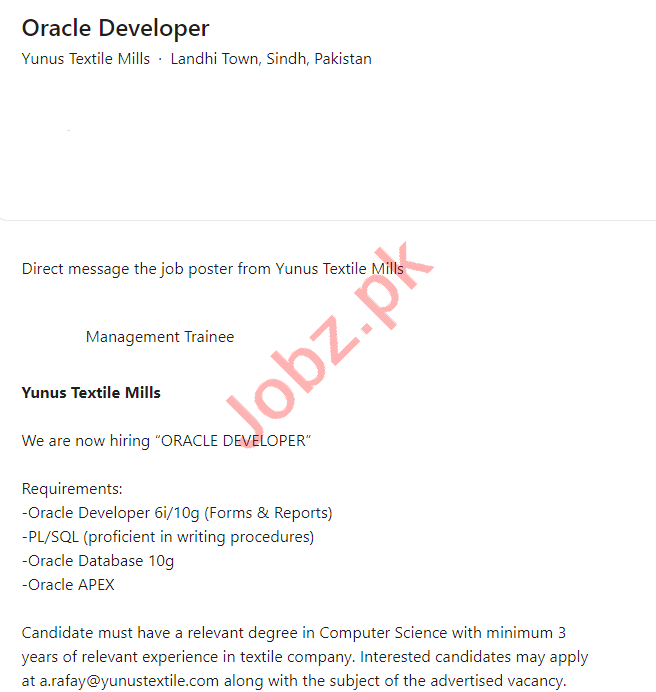Yunus Textile Mills Karachi Jobs 2021 for Oracle Developer