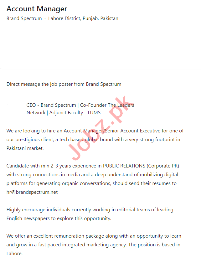 Brand Spectrum Lahore Jobs 2021 for Account Manager