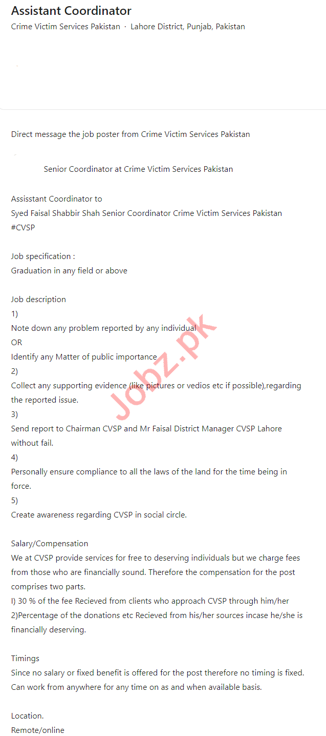 Crime Victim Services Pakistan Jobs 2021 for Coordinator