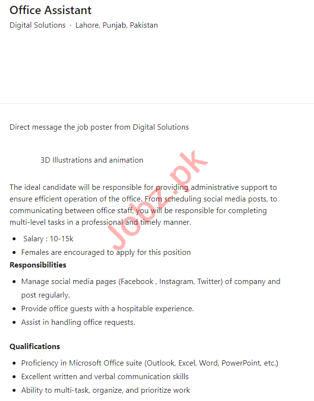 Digital Solutions Lahore Jobs 2021 for Office Assistant