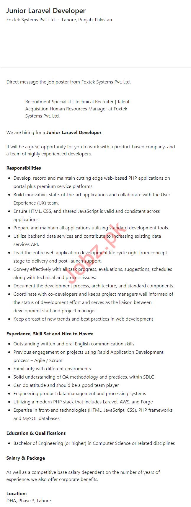 Foxtek Systems Lahore Jobs 2021 for Junior Laravel Developer