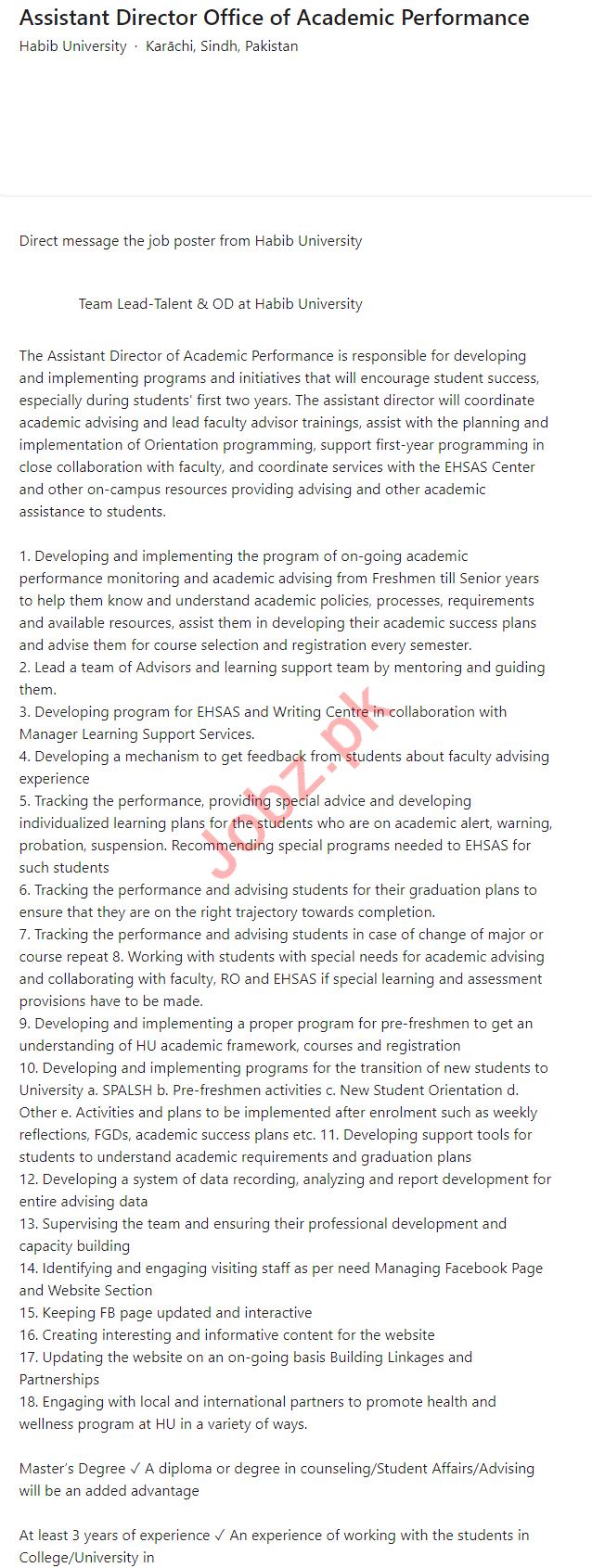 Habib University HU Karachi Jobs 2021 for Assistant Director