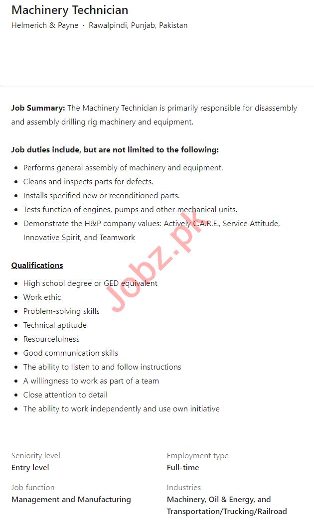 Helmerich & Payne Rawalpindi Jobs 2021 Machinery Technician