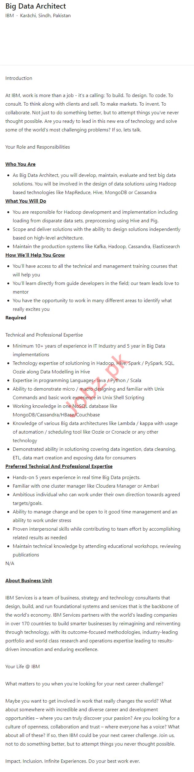 IBM Pakistan Jobs 2021 for Big Data Architect