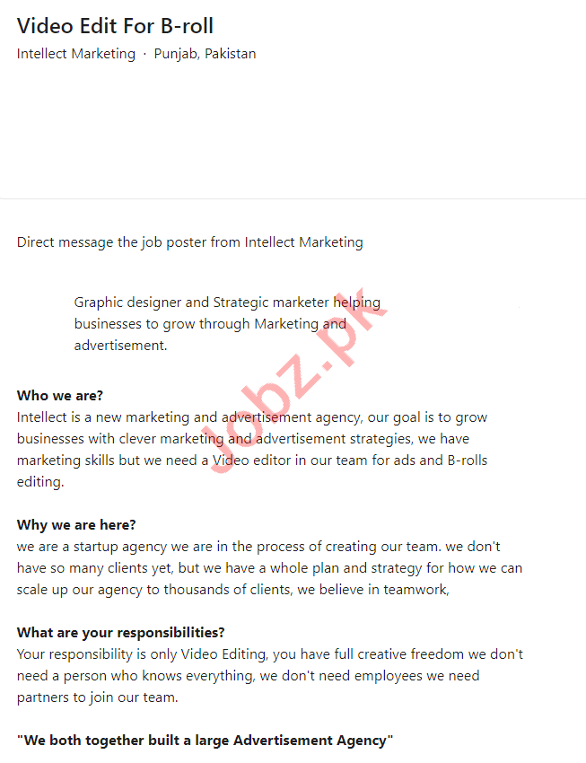 Intellect Marketing Lahore Jobs 2021 for Video Editor