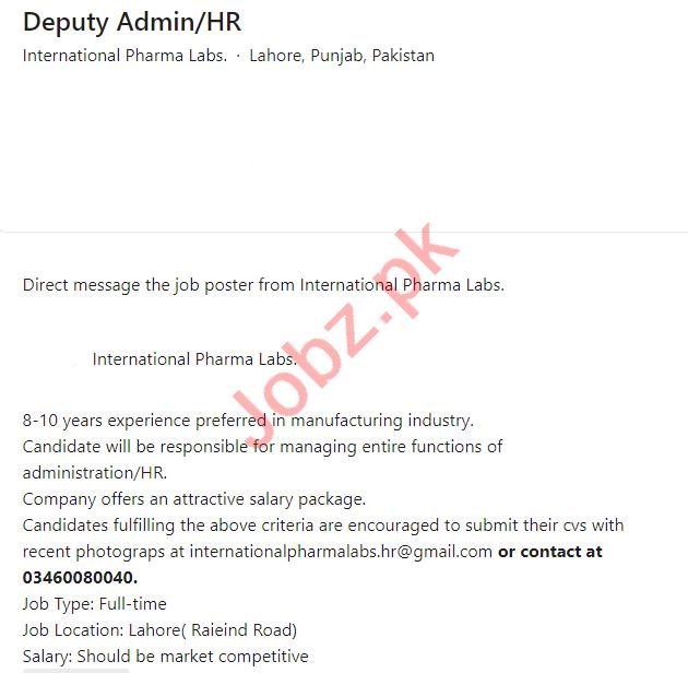 International Pharma Labs Lahore Jobs 2021