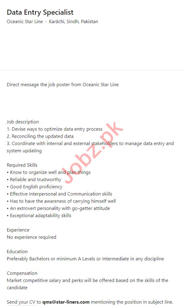 Oceanic Star Line Karachi Jobs 2021 Data Entry Specialist