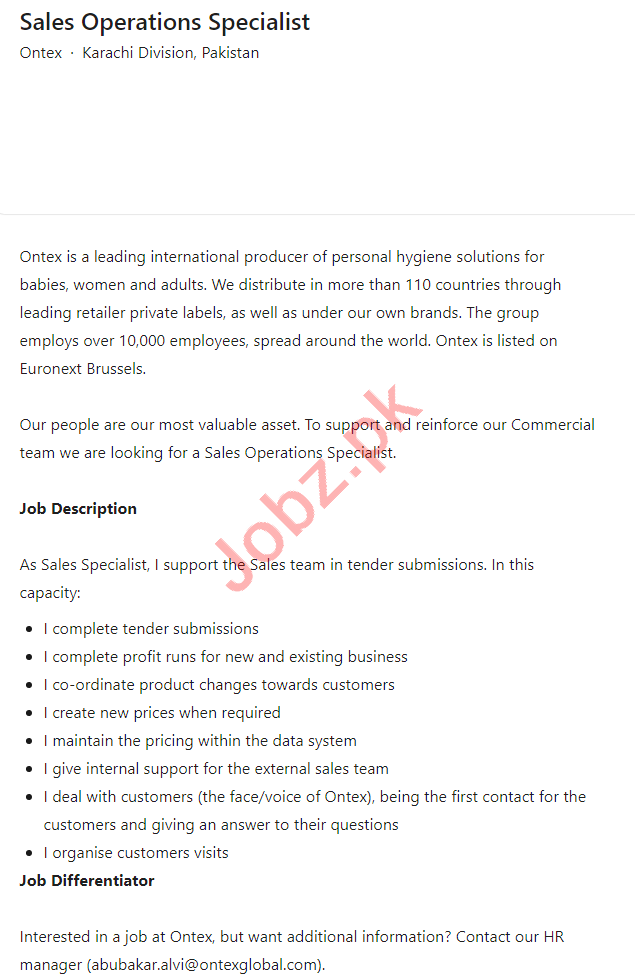 Ontex Pakistan Karachi Division Jobs 2021 Sales Specialist