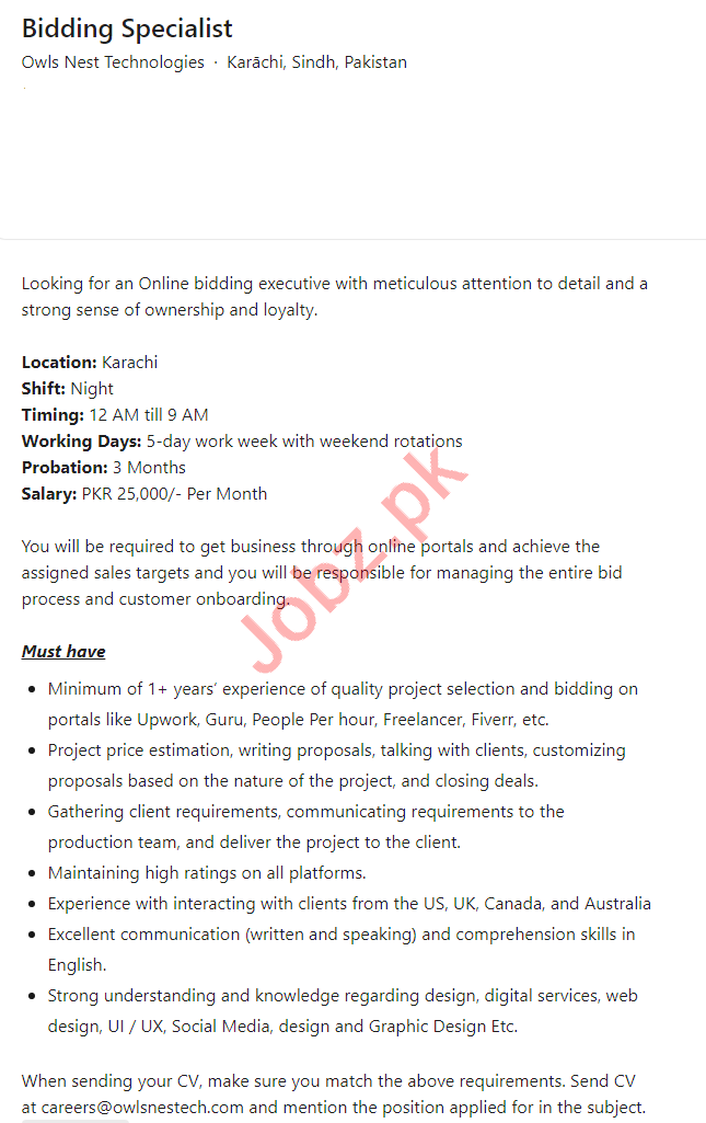 Owls Nest Technologies Karachi Jobs 2021 Bidding Specialist