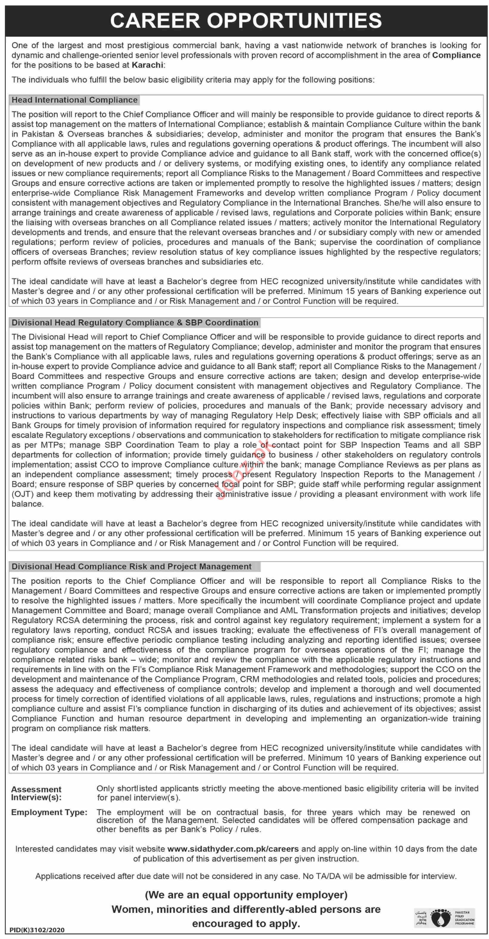 Head International Compliance & Divisional Head Jobs 2021