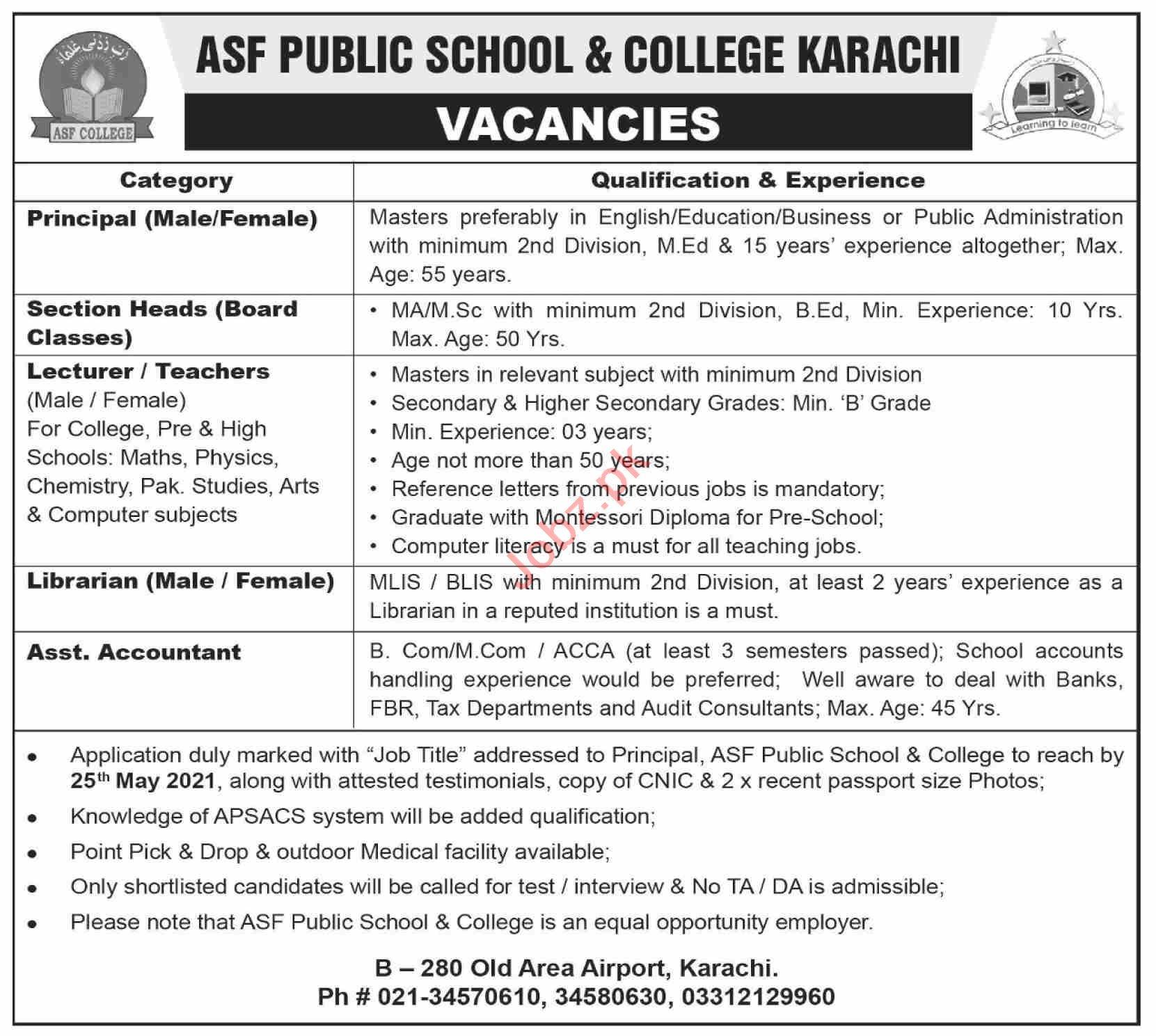 ASF Public School & College Karachi Jobs 2021 for Principal