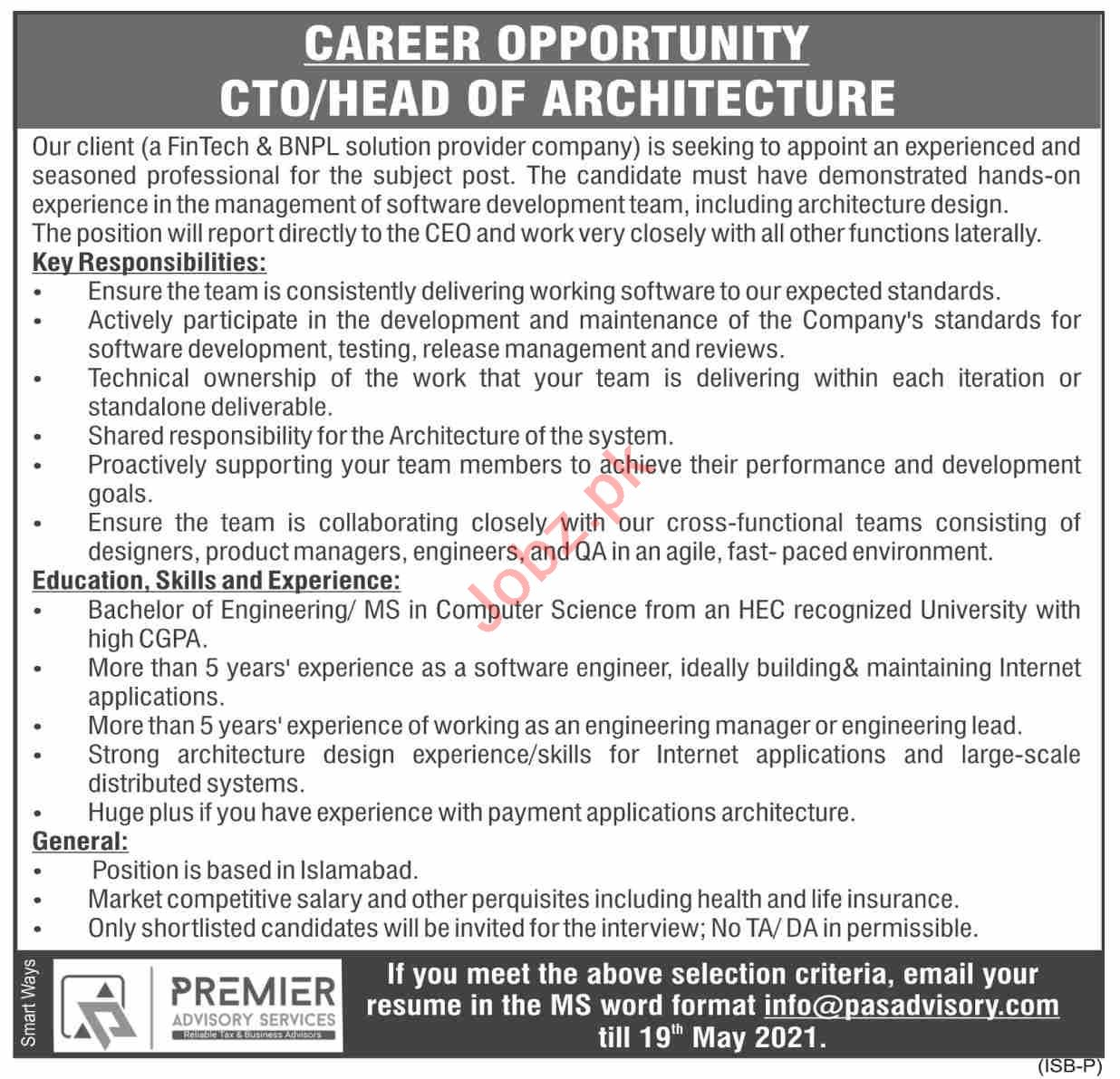 Premier Advisory Services Islamabad Jobs 2021 for CTO