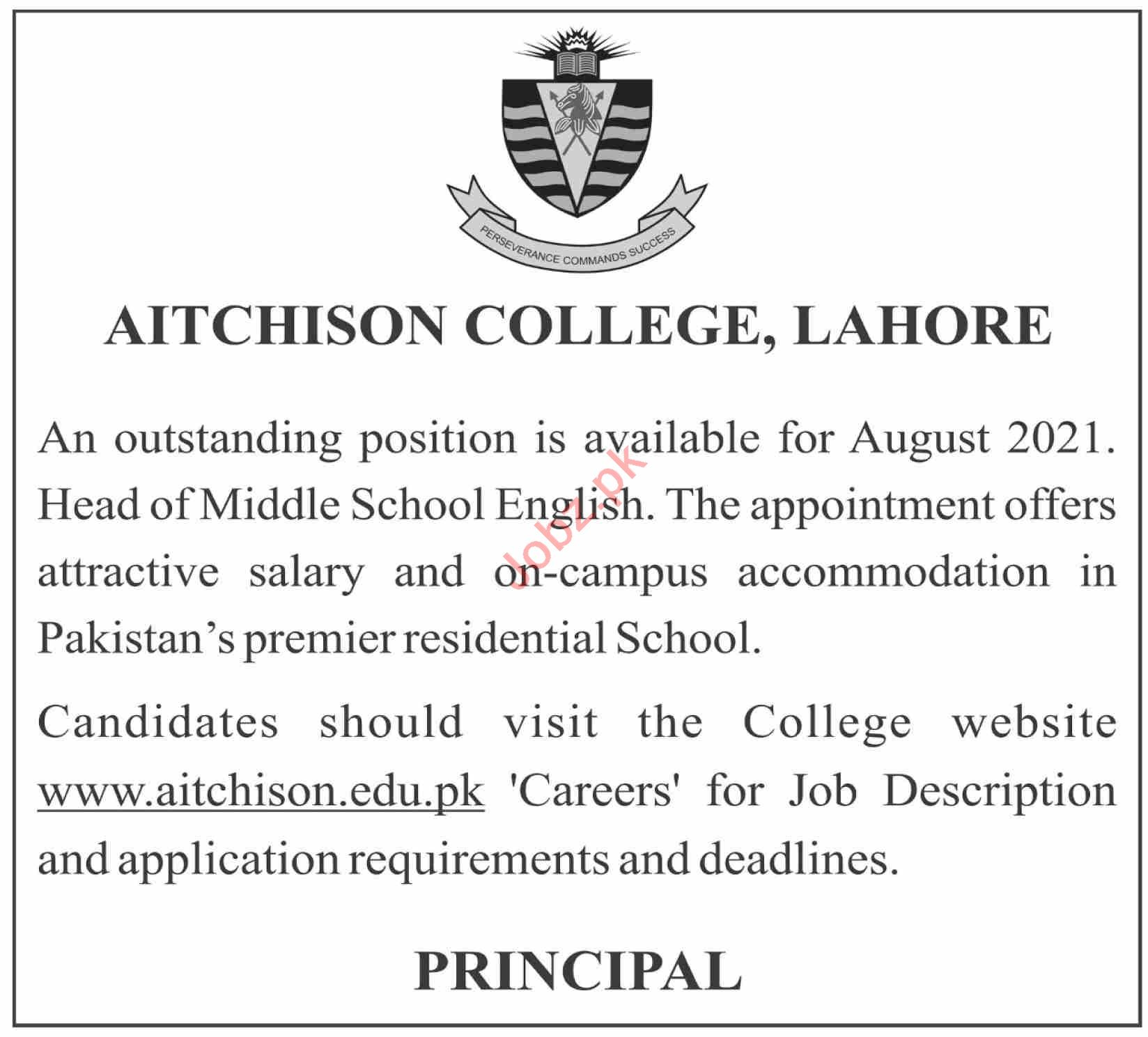 Aitchison College Lahore Jobs 2021 for Head of Middle School