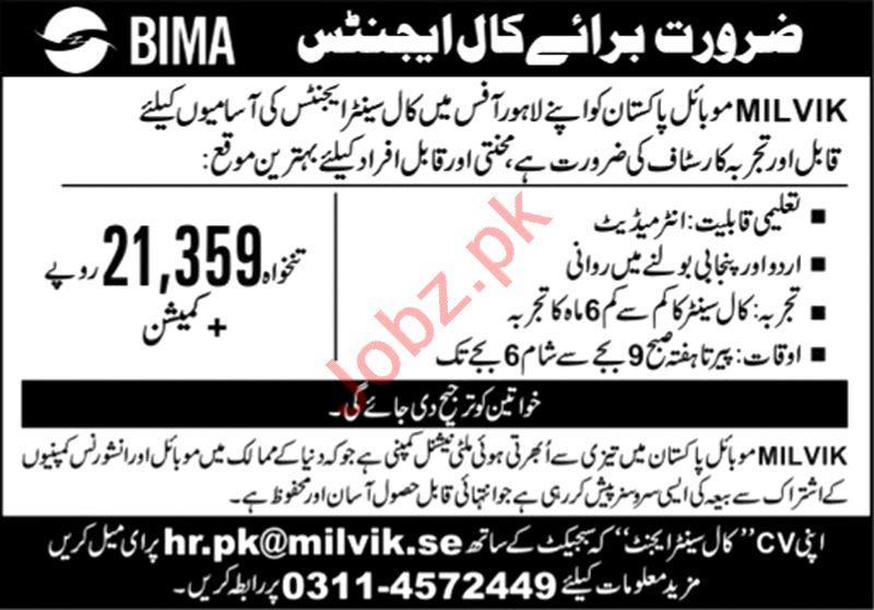Milvik Mobile Pakistan Jobs 2021 for Call Center Agent
