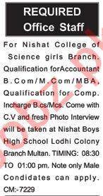 Campus Incharge & Account Jobs 2021 in Nishat College Multan