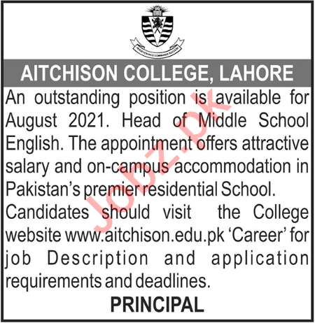 Head of Middle School Jobs 2021 in Aitchison College Lahore